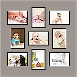 Art to Frames Double-Multimat-540-88/89-FRBW26079 Collage Photo Frame Double Mat with 9-4x6 Openings and Satin Black Frame