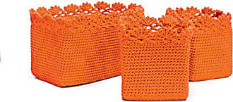 Heritage Lace Mode Crochet Rectangle Baskets with Crochet Edge, Orange, Set of 3