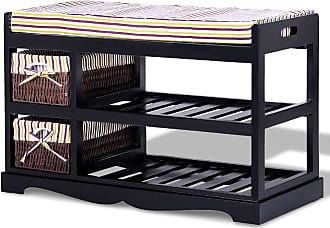 Costway 2 Basket Shoe Storage Bench Rack in Entryway