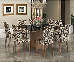 Viero Conjunto Sala de Jantar Mesa Tampo em Vidro Preto 8 Cadeiras Alma Viero Grigio/Coffee