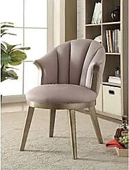 Benzara BM185610 Wooden Accent Chair with Curved Backrest, Gold and Gray