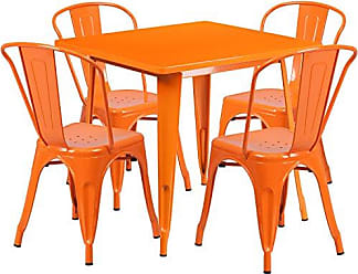 Flash Furniture 31.5 Square Orange Metal Indoor-Outdoor Table Set with 4 Stack Chairs