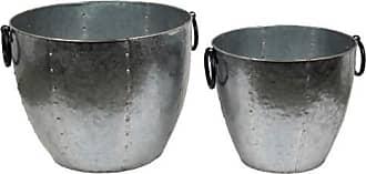 Privilege International Galvanized Baskets - Set of 2