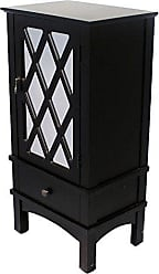 Heather Ann Creations The Cottage Collection Modern Style Wooden Living Room Single Door and Drawer Accent Cabinet with Glass Lattice Inserts, Black