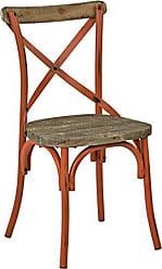 Office Star Somerset X-Back Metal Chair with Hardwood Rustic Walnut Seat Finish, Antique Orange