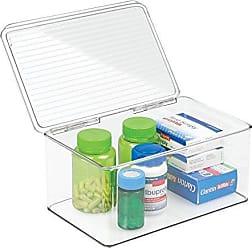 InterDesign Med+ Large Plastic Bathroom Vanity Bin with Lid, Medication, Accessories, Dental Supplies, Cosmetics, BPA-Free Organizer Box, 7.25 x 10.75 x 5, Clear