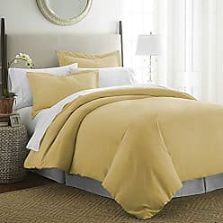 iEnjoy Home Beckham Luxury Soft Brushed 1800 Series Microfiber Duvet Cover Set - Hypoallergenic, Queen, Gold