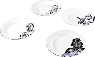 Zak designs C3P0, Stormtrooper, Darth Vader & Obi-Wan Kenobi Ceramic 10.5 Plates, 4 pack set, Unique Black and White Designs, Star Wars Ep4 7.5in 4pc