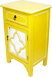 Heather Ann Creations Standing Single Drawer Distressed Cabinet, 30 x 18, Yellow