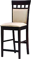 Coaster Gabriel 24 Upholstered Panel Back Counter Stools Cappuccino and Tan (Set of 2)