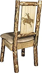 Montana Woodworks Montana Wooodworks Glacier Country Collection Side Dining Chair, Buckskin Upholstery, with Laser Engraved Bronc Design