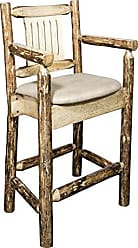 Montana Woodworks MWGCBSWCASBUCK24 Glacier Country Collection Counter Height Captains Barstool, Buckskin Upholstery