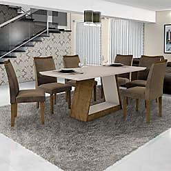 Leifer Conjunto Sala de Janta Mesa Tampo Off White 6 Cadeiras Pampulha Leifer Ype/Off White/Capuccino