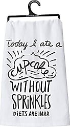 Primitives By Kathy LOL Made You Smile Dish Towel, 28 x 28, A A Cupcake Without Sprinkles