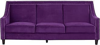 Iconic Home FSA9005-AN Camren Sofa Velvet Upholstered Swoop Arm Silver Nailhead Trim Espresso Finished Wood Legs Couch Modern Contemporary, Purple