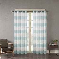 Urban Habitat White Blue Grommet Curtains for Living Room, Mason Striped Window Curtains for Bedroom Family Room, Polyester Semi-Opaque Living Room Curtains, 50X63, 1-Panel Pack