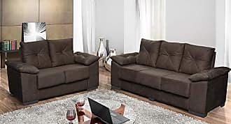Cama inBox Conjunto de Sofá San Marino 3 e 2 Lugares Tecido Suede Amassado Café - Moveis Marfim
