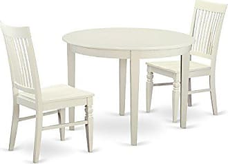 East West Furniture BOWE3-WHI-W 3 Piece Dinette Table and 2 Kitchen Chairs Set for 2 People