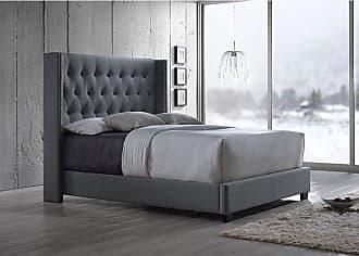 Baxton Studio Katherine Upholstered Wingback Platform Bed Brown, Size: Queen - CF8611-QUEEN-BROWN