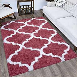 Ottomanson FFR2000-5X7 Flokati Trellis Design Shag Area Rug, 53 x 7, Red