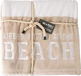 Pavilion Gift Company Life is Better at The Beach-Tan & White Super Soft 50 x 60 Inch Striped Throw Embroidered Text 50 x 60 Royal Plush Blanket Beige