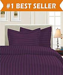 Elegant Comfort 1500 Thread Count Egyptian Quality Silky Soft Luxury 3-Piece Stripe Duvet Cover Set, King/California King, Eggplant/Purple