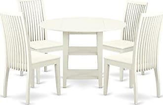 East West Furniture SUIP5-LWH-W Dining Set Medium Linen White