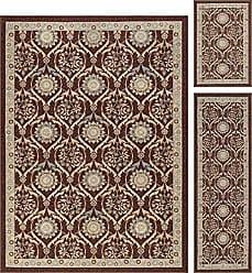 Tayse Leola Transitional Floral Brown Non-Skid 3-Piece Area Rug Set, 3-Piece Set