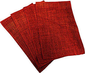 LA Linen Pack of 4 Dyed Natural Burlap Placemats 12 by 18-Inch, Red