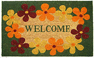 Geo Crafts Vinyl Back Floral Border Welcome Doormat