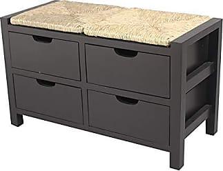 Heather Ann Creations Vale Series Multi Purpose Wooden 4 Drawer Entryway Storage Bench, Black
