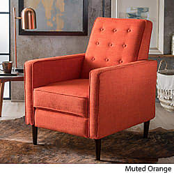 GDF Studio Christopher Knight Home 300598 Macedonia Mid Century Modern Tufted Back Muted Orange Fabric Recliner