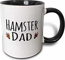 3D Rose InspirationzStore Pet designs - Hamster Dad - for male rodent pet owners - with two brown paw prints - 15oz Two-Tone Black Mug (mug_154019_9)