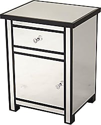 Heather Ann Creations Petite Accent Cabinet with Beveled Trim and Mirror Finish, 25.25 x 20, Black