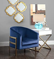 Iconic Home FAC2735-AN Monte Accent Club Chair Sleek Elegant Velvet Plush Cushion Seat Brushed Brass Finished Stainless Steel Frame Modern Contemporary, Navy
