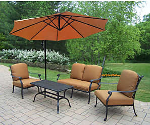 Oakland Living Outdoor Oakland Living Hampton 4 Piece Chat Set with Sunbrella Patio Cushions and Cantilever Umbrella - 7213-7212-7211-4110-BO-8-D56-AB