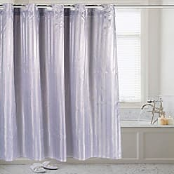 Sweet Home Collection Hookless 70 x 75 Shower Curtain Durable Water Repellent Resistant Fabric with Snap Off Liner in Solid Color, Pewter