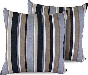 TK Classics Gray Stripe Square Outdoor Throw Pillows - Set of 2 - PILLOW-GREYSTRIPE-18X18-2X