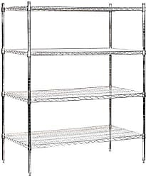 Salsbury Industries Stationary Wire Shelving Unit, 48-Inch Wide by 63-Inch High by 24-Inch Deep, Chrome