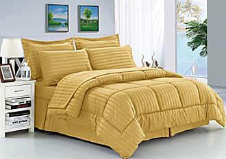 Elegant Comfort Wrinkle Resistant - Silky Soft Dobby Stripe Bed-in-a-Bag 8-Piece Comforter Set -Hypoallergenic - King Gold