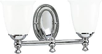 PROGRESS P3028-15 Delta Two-light bath bracket in Polished Chrome finish with white opal glass