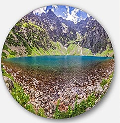 DESIGN ART Designart Pond in Middle of Mountains Panorama Landscape Large Metal Wall Art - Disc of 11 11 H x 11 W x 1 D 1P