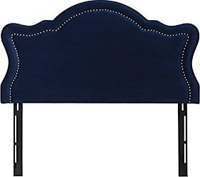 Jennifer Taylor Home Catherine Collection Antique Upholstered Nailhead Trim Camel Back Luxury Queen Size Size Headboard With Trim, Queen Size, Navy Blue