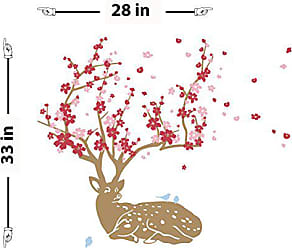 The Decal Guru Cherry Blossom Deer Wall Decal (Brown, Red, Pink, 33 (H) X 28 (W))