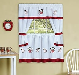 Ben&Jonah Ben & Jonah Gala Embellished Cottage Window Curtain Set-58x24 Tier Pair/58x36 Tailored Topper with Attached swaggers and tiebacks. -Rose Collection, Multicolor