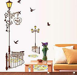 Zoo Adesivo de Parede Decorativo Poste de Luz e Pássaros