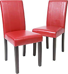 Round Hill Furniture Urban Style Solid Wood Leatherette Padded Parson Chair, Red, Set of 2