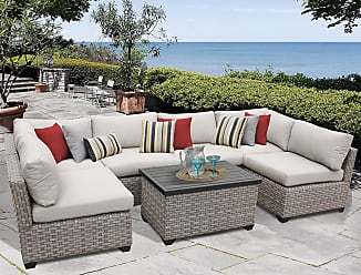 TK Classics Monterey 7 Piece Outdoor Wicker Patio Furniture Set 07a (Size)