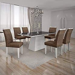 Leifer Conjunto Sala de Jantar Mesa Tampo MDF/Vidro Preto 6 Cadeiras Pampulha Leifer Branco/Linho Marrom