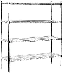 Salsbury Industries Stationary Wire Shelving Unit, 60-Inch Wide by 63-Inch High by 18-Inch Deep, Chrome